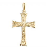 9ct Gold Floral engraved Gothic style Cross Pendant 1.8g